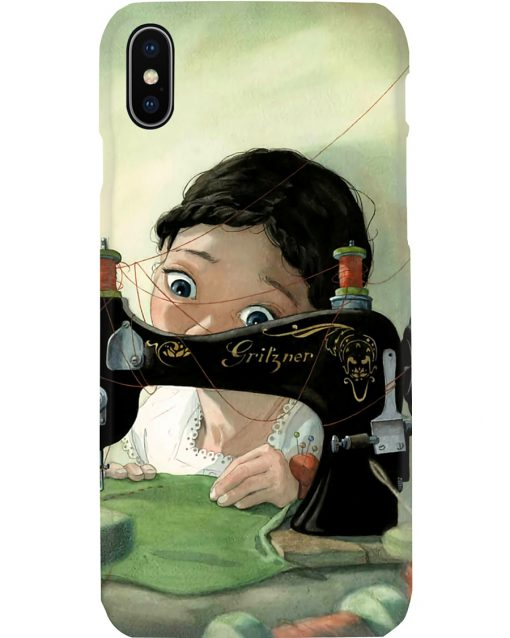 Girl Loves Sewing Drawing phone case iphone X