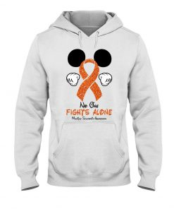 Glitter Mickey Mouse No one fight alone Multiple Sclerosis Awareness long hoodie