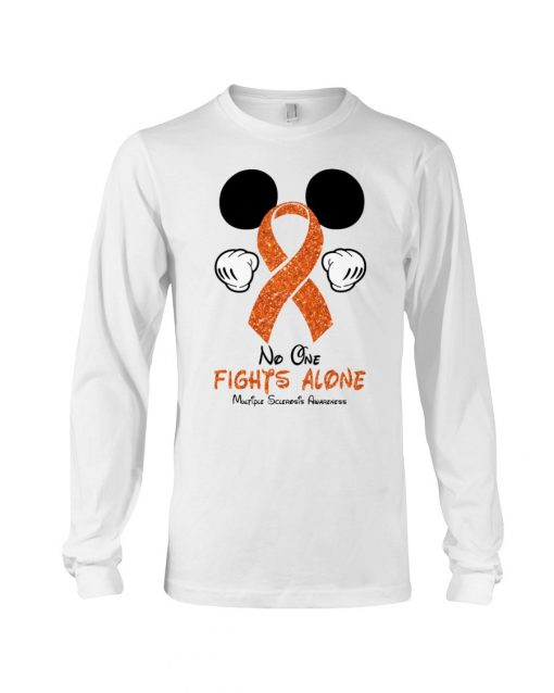 Glitter Mickey Mouse No one fight alone Multiple Sclerosis Awareness long sleeved