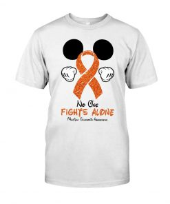Glitter Mickey Mouse No one fight alone Multiple Sclerosis Awareness shirt