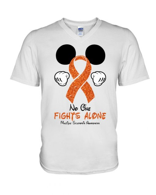 Glitter Mickey Mouse No one fight alone Multiple Sclerosis Awareness v-neck