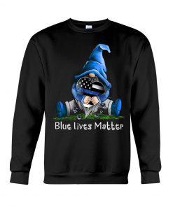 Gnome Patrick Thin Blue Line American Flag Blue Lives Matter Sweatshirt