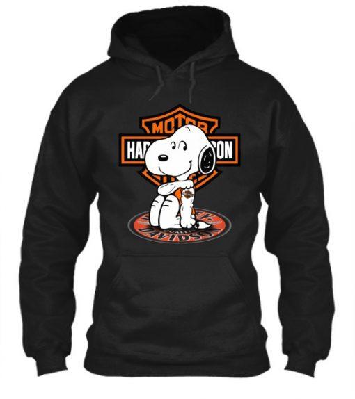 Harley Davidson Snoopy tatoo hoodie