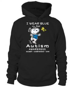 I wear blue for Autism Awareness Snoopy and Woodstock hoodie