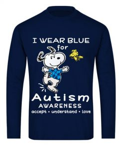 I wear blue for Autism Awareness Snoopy and Woodstock long sleeved