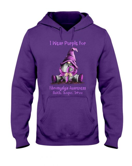 I wear purple for Fibromyalgia awareness Gnomie Patrick's day hoodie