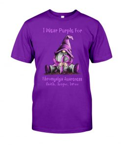 I wear purple for Fibromyalgia awareness Gnomie Patrick's day shirt