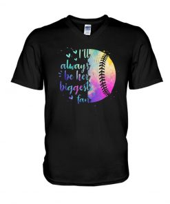 I'll always be her biggest fan Softball watercolor V-neck