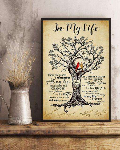 In my life The beatles signatures Cardinal Bird poster mockup
