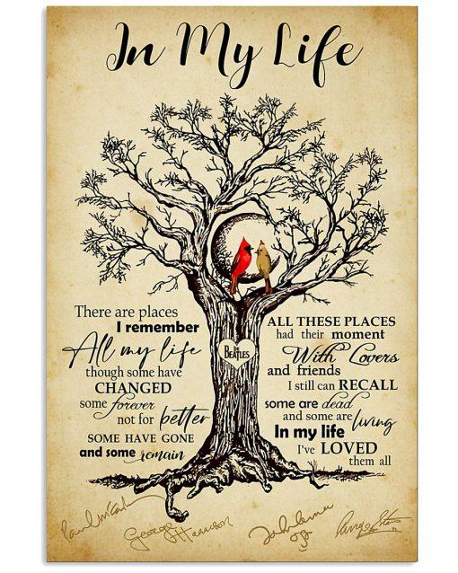 In my life The beatles signatures Cardinal Bird poster new