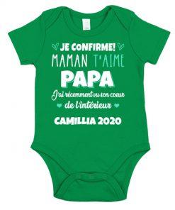 Je Confirme maman t'aime papa chemise de nom personnalisé green