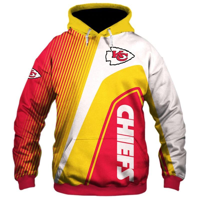 Kansas City Chiefs stripes 3d hoodie