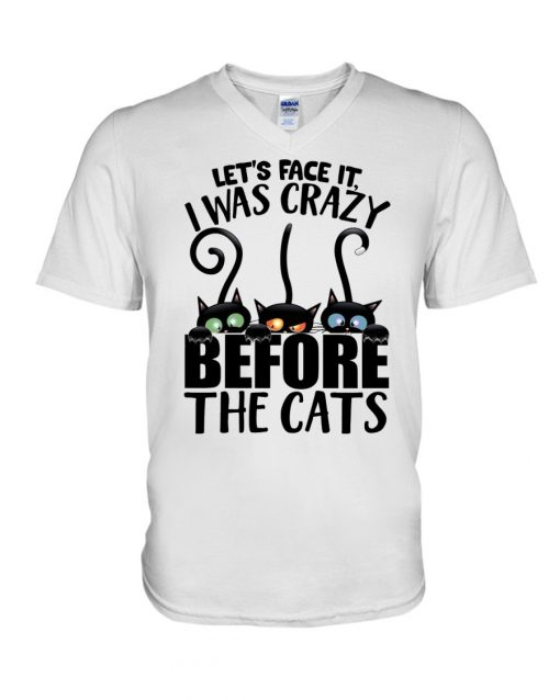 Let's face it I was crazy before the cats v-neck