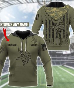 Minnesota Vikings Camo American Flag 3D hoodie