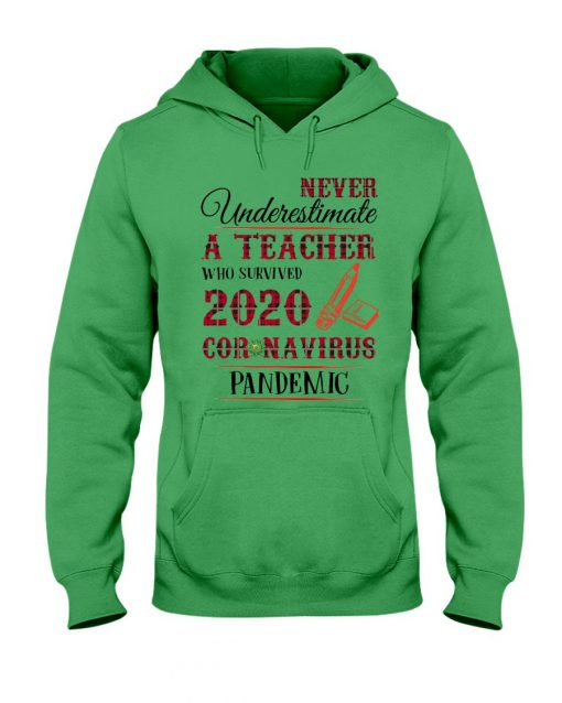Never underestimate a teacher who survived 2020 Coronavirus pandemic hoodie