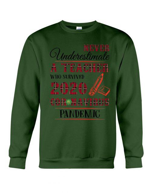 Never underestimate a teacher who survived 2020 Coronavirus pandemic sweatshirt