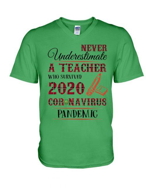 Never underestimate a teacher who survived 2020 Coronavirus pandemic v-neck