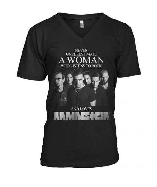 Never underestimate a woman who listens to rock and loves Rammstein V-neck