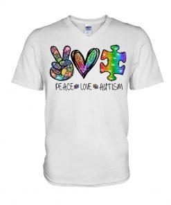 Peace Love Autism glitter v-neck