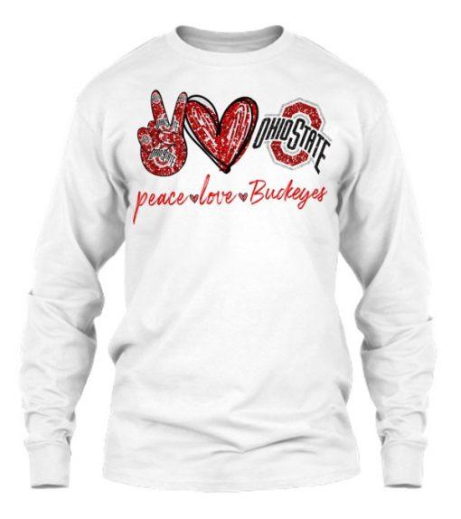 Peace Love Buckeyes glitter sweatshirt