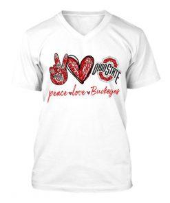 Peace Love Buckeyes glitter v-neck