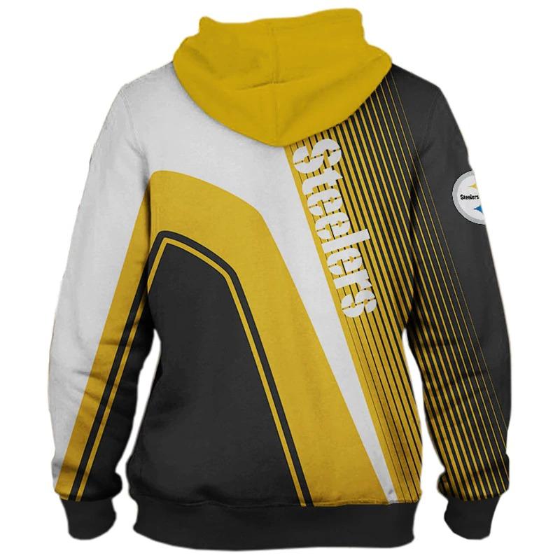 Pittsburgh Steelers stripes 3d hoodie back