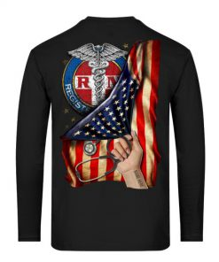 Registered Nurse RN American Flag personalized long sleeved