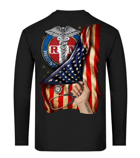Registered Nurse RN American Flag personalized long sleeved