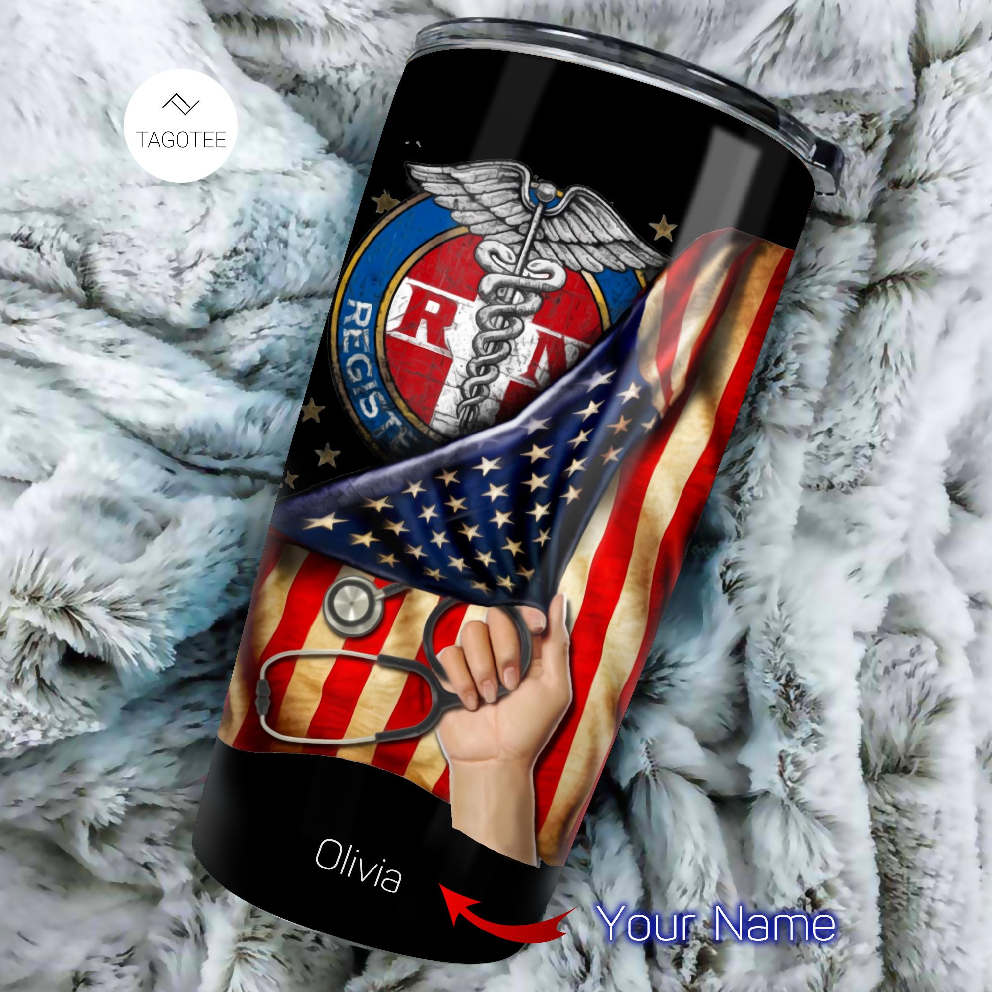 Registered Nurse RN American Flag personalized tumbler