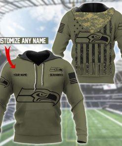 Seattle Seahawks Camo American Flag 3D hoodie