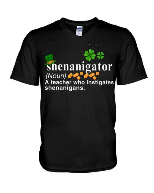 Shenanigator definition A teacher who instigates shenanigans V-neck
