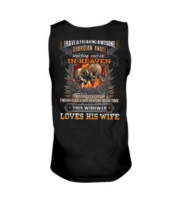 Skull I have a freaking awesome guardian angel watching over me Love his wife Tank top