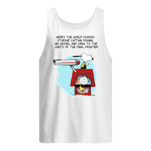 Snoopy Here's the world famous starship captain pushing his vessel tank top
