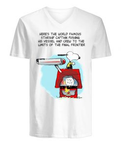 Snoopy Here's the world famous starship captain pushing his vessel v-neck