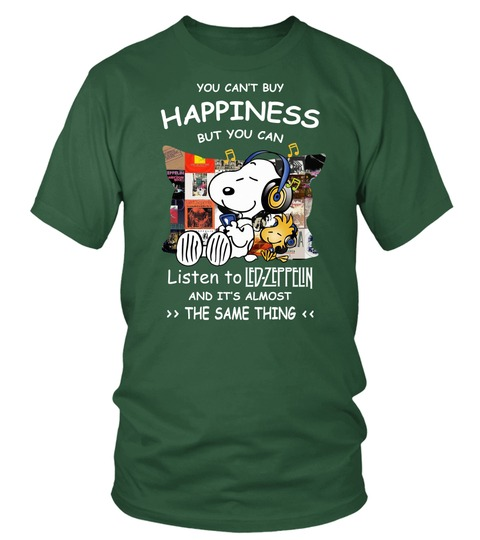 Snoopy You can't buy happiness but you can listen to Led Zeppelin Tshirt