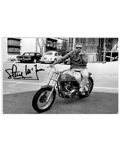 Steve McQueen on his Metisse motorcycle middle finger signature poster