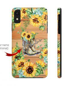 Sunflower Boots Wood version phone case custom name