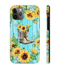 Sunflower Boots turquoise wood phone case 11 Pro