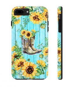 Sunflower Boots turquoise wood phone case 7