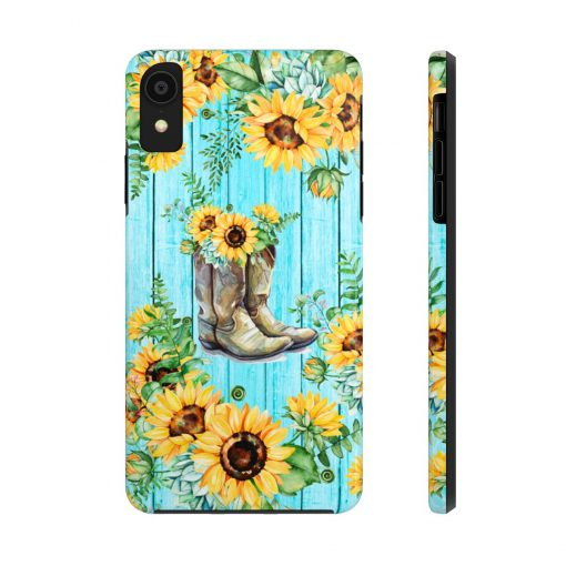 Sunflower Boots turquoise wood phone case XR