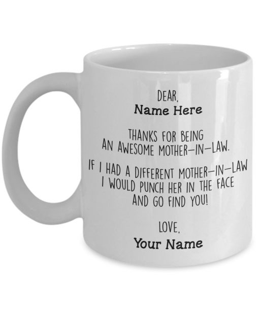 Thanks for being an awesome mother-in-law personalized mug