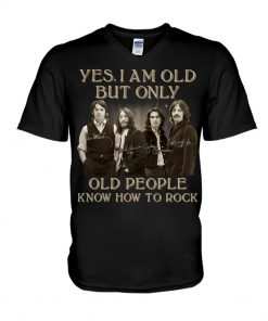 The Beatles Only old people know how to rock signatures v-neck