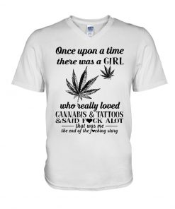 There was a girl who really loved cannabis and tattoos V-neck