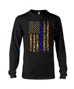 Thin Blue Line Leopard American flag long sleeved