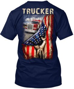 Trucker Proud American flag shirt