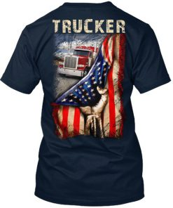 Trucker Proud American flag v-neck