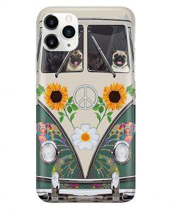 VW Volkswagen Beetle Pug Hippie Flowers vintage phone case11