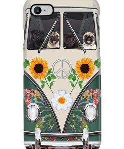 VW Volkswagen Beetle Pug Hippie Flowers vintage phone case7