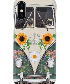VW Volkswagen Beetle Pug Hippie Flowers vintage phone casexs