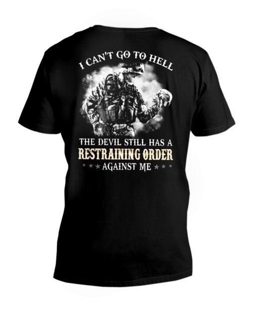 Veteran Skull I can't go to hell the devil still has restraining order v-neck